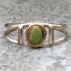 Apple Green Turquoise 925 Silver Navajo Bracelet